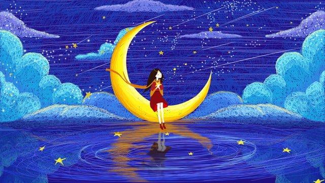 Coil illustration beautiful starry meteor shower pledge, Coil Impression, Night Sky, Meteor illustration image