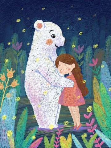 クマコイル癒しシステム図を保持している夜の女の子 イラストレーション画像