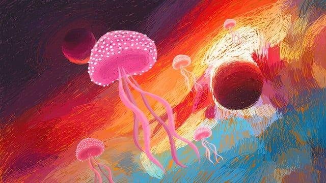 coil pintura universo céu estrelado e água viva Material de ilustração
