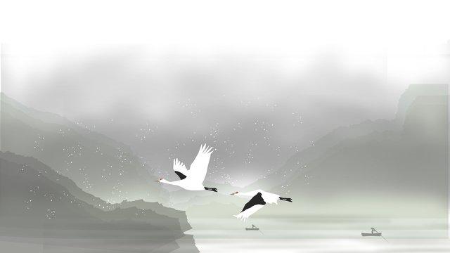 中国の第24回祭り、冷たい露、中国風、風景、水墨画、白鶴 イラスト素材