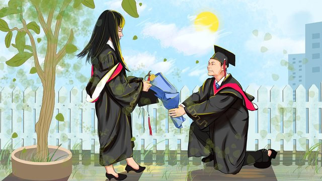 world university students day graduation confession small fresh color llustration image illustration image