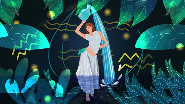 Girl healing illustration in aquarius forest, Constellation, Aquarius, Teenage Girl illustration image