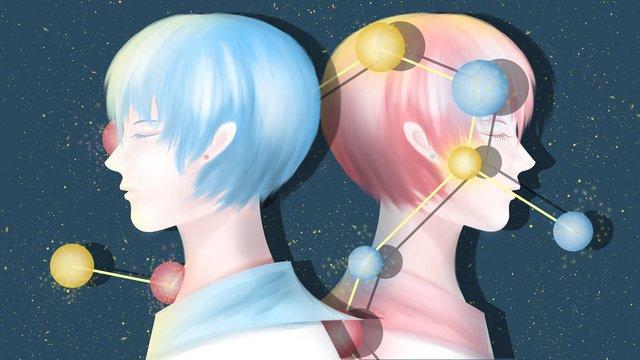twelve constellation illustration gemini llustration image