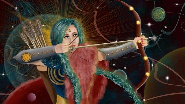 constellation universe planet aurora long hair armor mythology sagittarius goddess llustration image illustration image