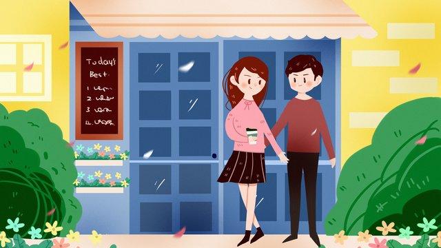 커플 카페 쇼핑 촬영 데이트 사랑 삶 식사 연인 삽화 소재 삽화 이미지