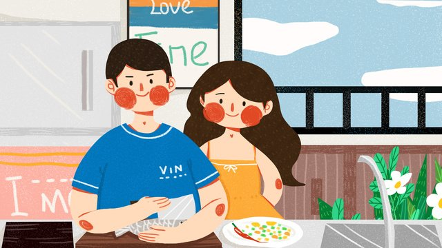 couple daily kitchen cooking sweet warm cute simple original illustration llustration image