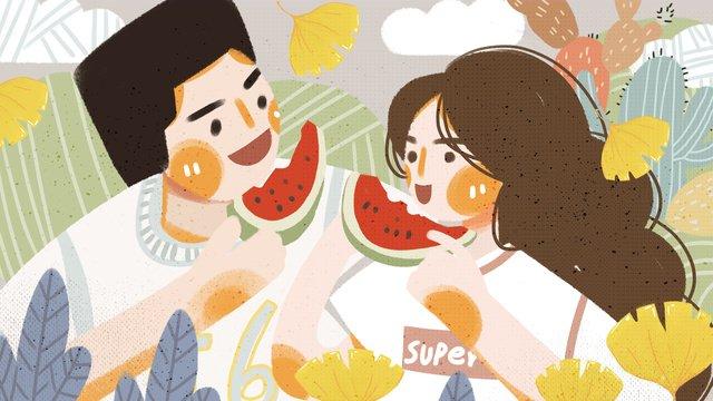 Couple everyday boy girl eating watermelon flat illustration, Couple Everyday, Boy, Girl illustration image