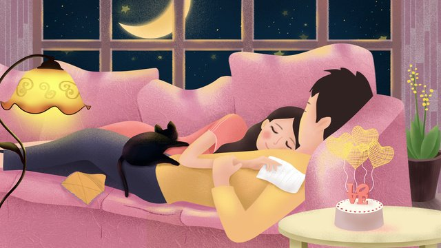 Original hand-painted illustration couple daily night home on the sofa, Couple Everyday, Couple, Daily illustration image