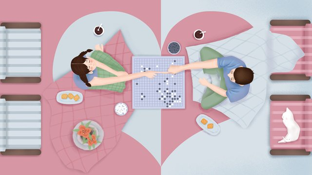 original hand painted illustration couple daily home life llustration image