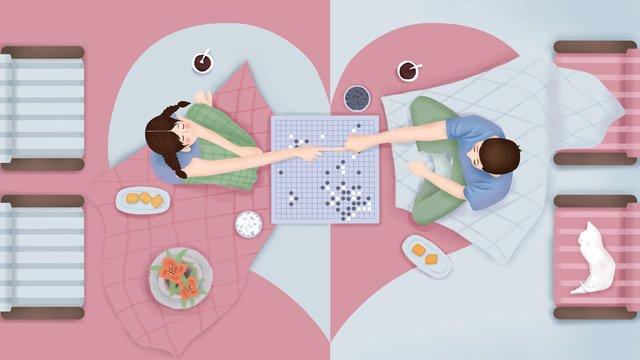 original hand painted illustration couple daily home life llustration image illustration image