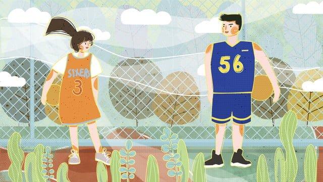 Couple boy and girl illustration holding basketball on daily playground, Couple Everyday, Playground, Boy Holding Basketball illustration image