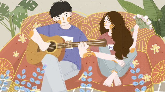 couple everyday sitting on the couch playing guitar boy girl illustration llustration image