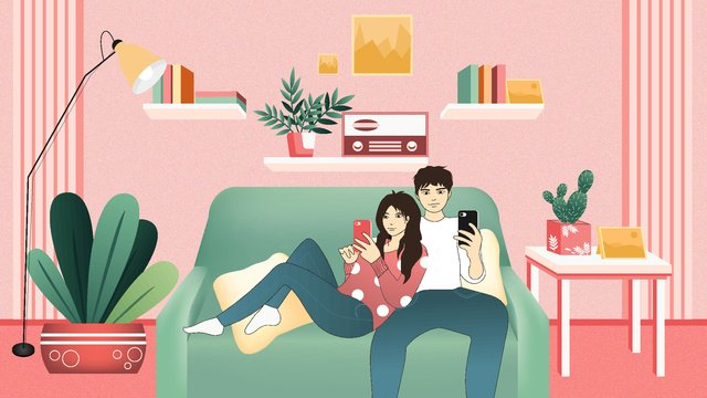 Couples small fresh warm happy home sweet life, Couple Everyday, Small Fresh, Warm illustration image