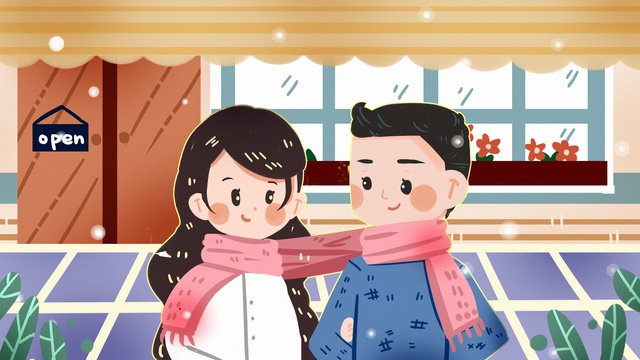 couple in love under the snow cafe scarf winter dating romantic lovers llustration image illustration image