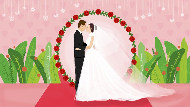 Original hand painted sweet couple wedding invitation llustration image