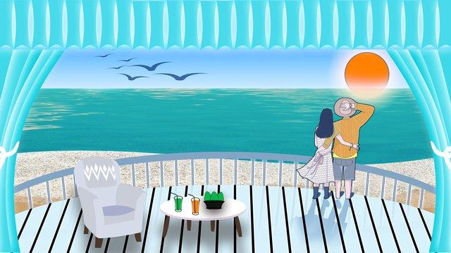 Couple Memories Miss seaside, Hotel, Sunrise, Couple illustration image