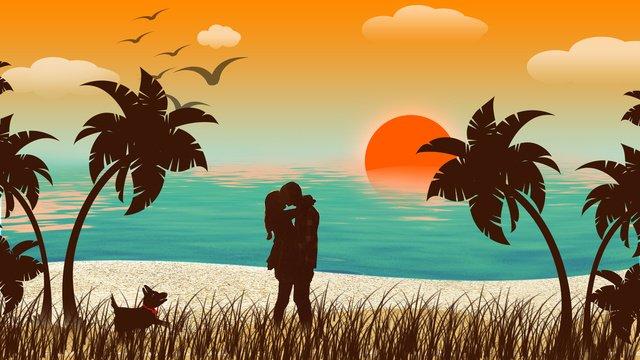 الزوجان الرومانسيان ، توهج المساء قبلة على شاطئ البحر صورة llustration صورة التوضيح