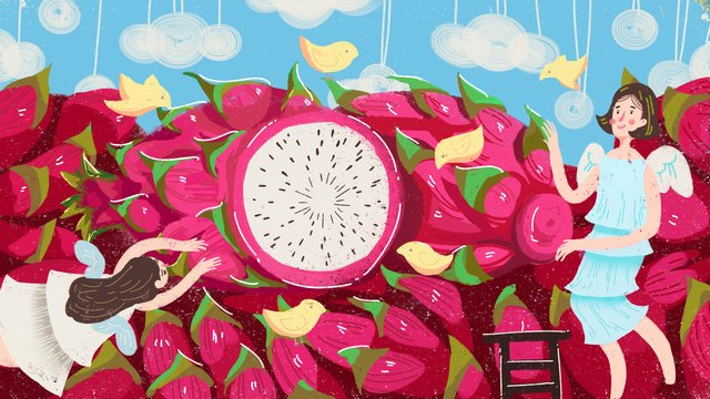 Creative dragon fruit texture cute illustration small fresh, Creative, Illustration, Matching illustration image