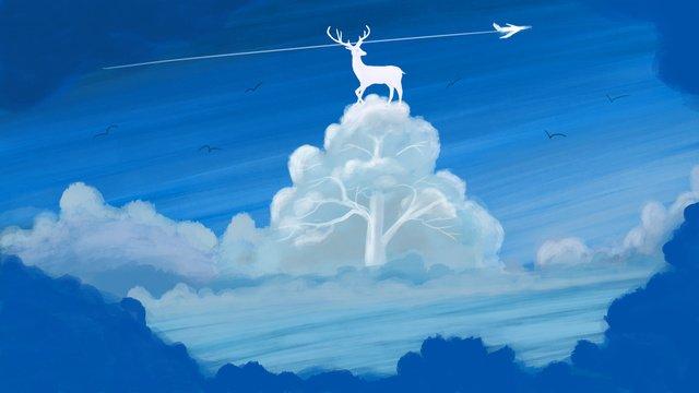 鹿の青い空と白い雲昨日澄んだ空と癒しの抽象的な水彩風の森治療法  アブストラクト  印象 PNGおよびPSD illustration image