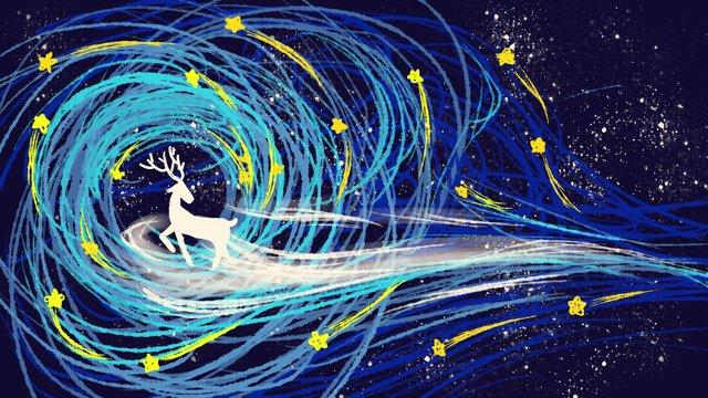Beautiful dream deer coil impression starry blue hand-painted illustration original, Cure, Dream, Beautiful illustration image
