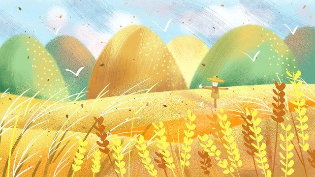 शरद ऋतु गेहूं क्षेत्र मूल चित्रण का इलाज करें चित्रण छवि चित्रण छवि