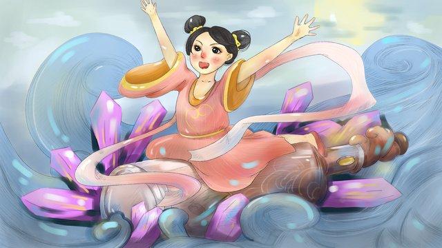 ドリフトボトルを持つ少女 イラストレーション画像