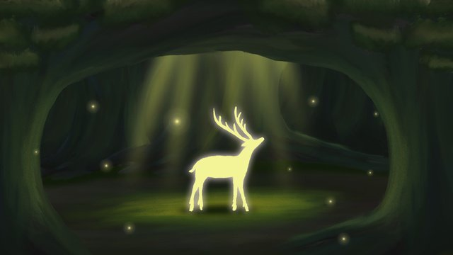 healing the forest seeing deer at night good hello september llustration image