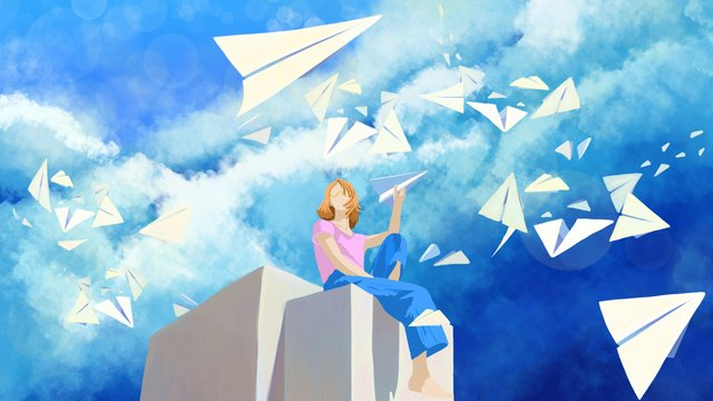 healing the blue sky and white clouds girl other winds are waiting for your illustration poster llustration image illustration image