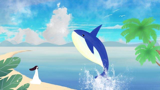 हीलिंग सिस्टम छोटी ताजा और प्यारी लड़की गहरे समुद्र व्हेल नीला आकाश सफेद चित्रण छवि