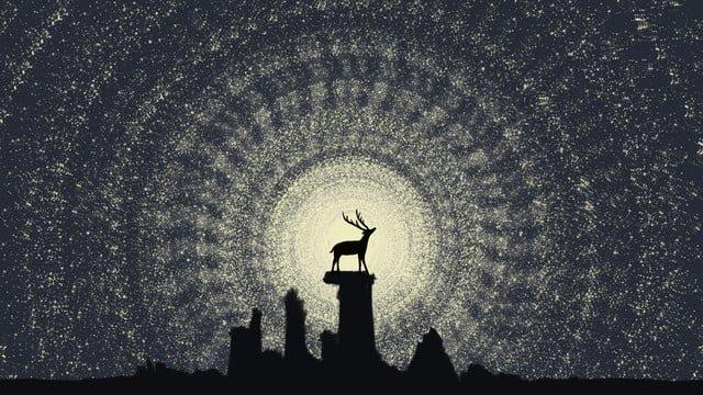 healing abstract starry sky longing for success deer good night hello illustration llustration image illustration image