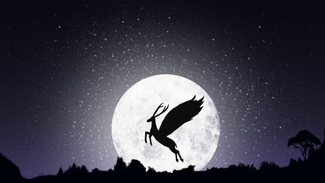 healing the deer in moon good night hello september llustration image