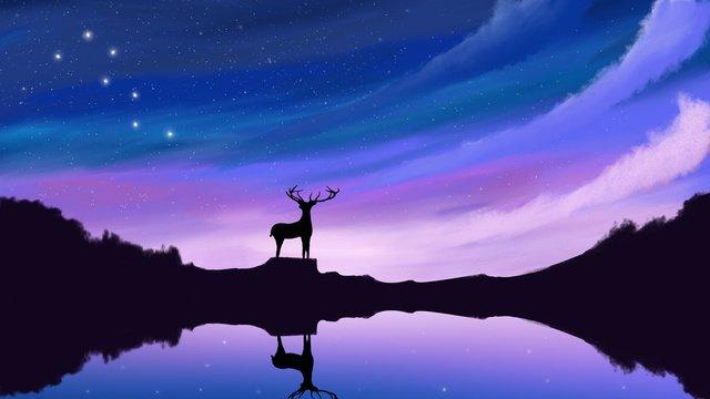 癒し系美しい星空孤独な鹿おやすみこんにちはイラストポスター治療法  星空  夢 PNGおよびPSD illustration image