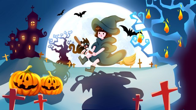 Cute card ventilated flat halloween witch illustration poster mobile phone with map, Cute Card, Airy, Halloween Illustration illustration image