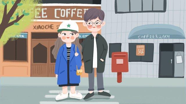cartoon cute couple daily shopping small fresh illustration llustration image