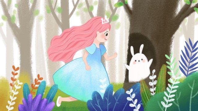 Cartoon cute cure forest girl illustration, Cute Cartoon, Forest Girl, Plant illustration image