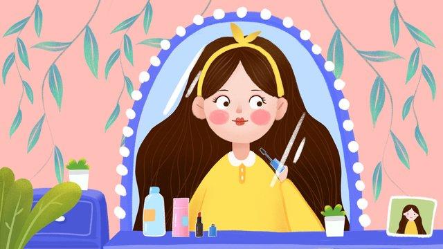cartoon cute girl home skin care makeup small fresh illustration llustration image