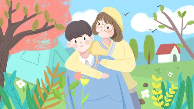 cartoon cute couple daily outings small fresh illustration llustration image