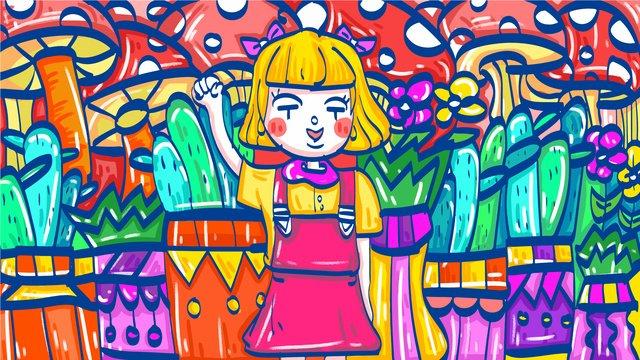 植物鉢植えキノコかわいい女の子 イラストレーション画像 イラスト画像