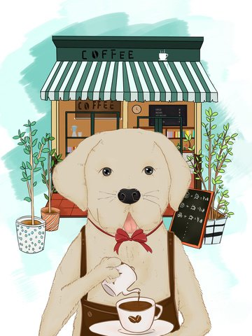 Meng pet labrador cures coffee, Cute Pet, Animal, Dog illustration image