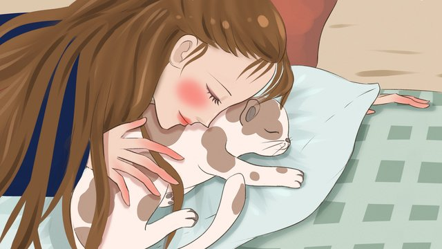 Original illustration of a girl sleeping in pet bedroom with cat llustration image illustration image