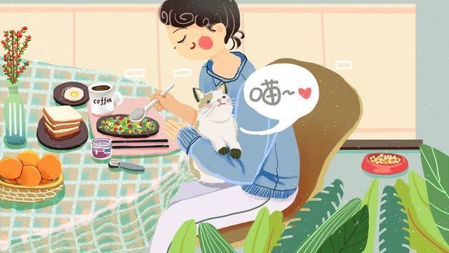 Cute pet Cat girl breakfast, Plant, Toast, Omelette illustration image