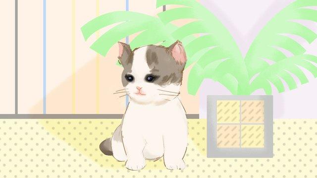 Cute pet puppet cat, Cute Pet, Comet, Cat Plush illustration image