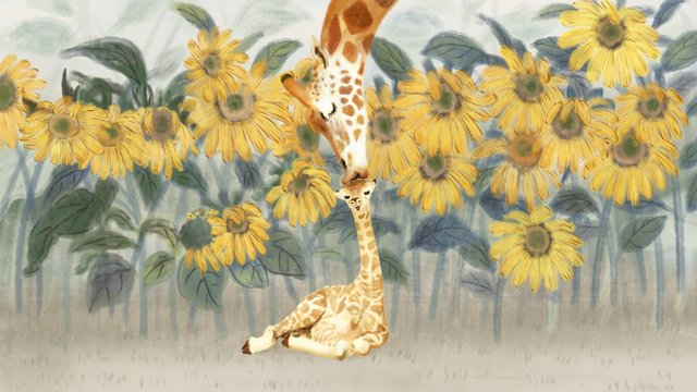 Cute pet giraffe original illustration, Cute Pet, Giraffe, Sunflower illustration image