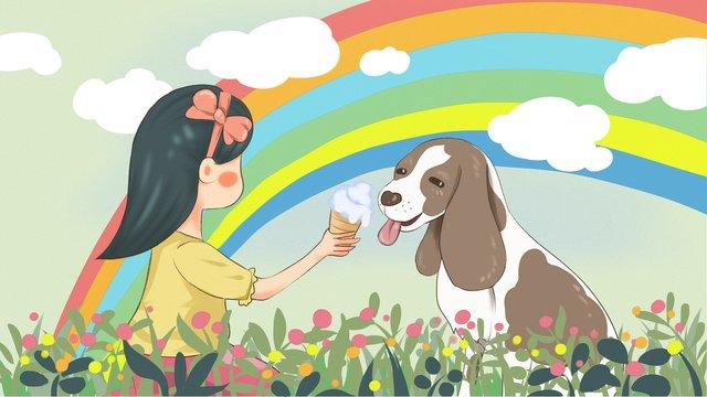 cute pet menina alimentação cão comer sorvete original ilustração Material de ilustração