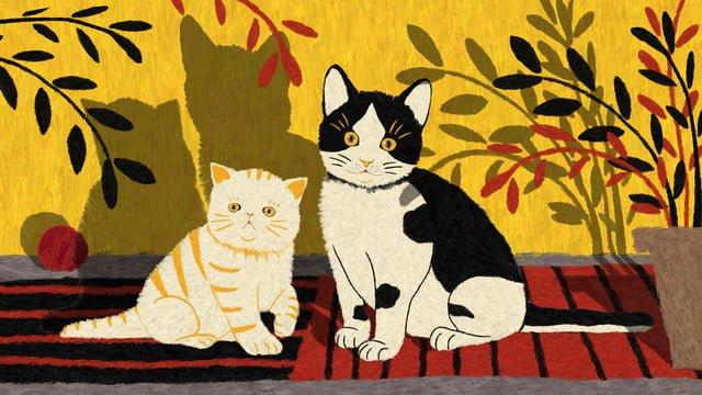 मूल वाणिज्यिक प्यारा पालतू बिल्ली चित्रण चित्रण छवि