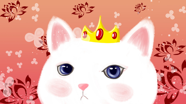 Meng 哒萌 pet little white cat llustration image illustration image