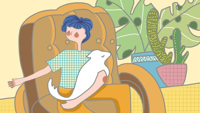 귀여운 평면 추적 바람 애완 동물 아이 일러스트 삽화 소재 삽화 이미지