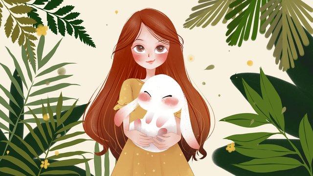 Милый питомец серии милые объятия кролика девочка маленькая свежая иллюстрация Ресурсы иллюстрации