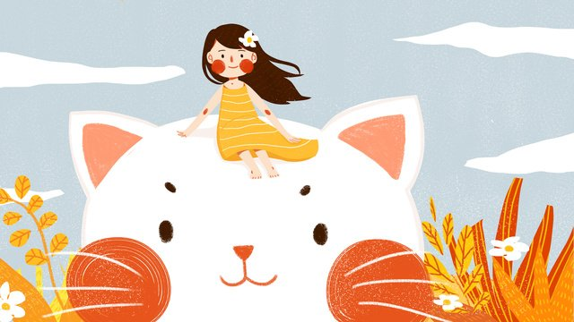 Cute pet pet animal Cat, Teenage Girl, Lovely, Simple illustration image