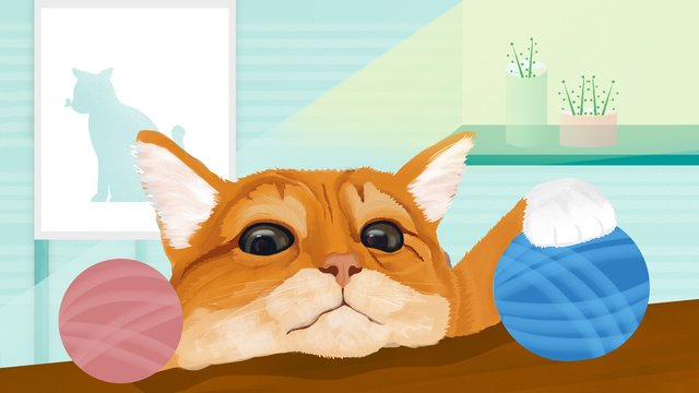 Cute pet pet Cat Orange cat, Ball, Sunlight, Windowsill illustration image